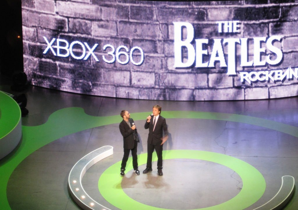 Paul McCartney and Ringo Starr on stage at Xbox Kinect launch at E3